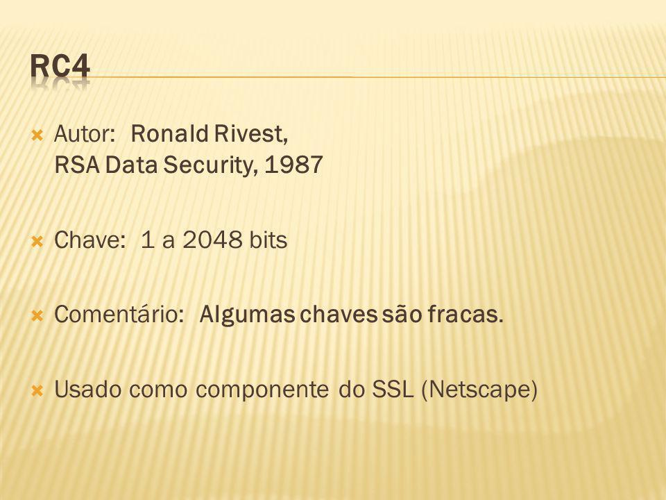 Autor: Ronald Rivest, RSA Data Security, 1987 Chave: 1 a 2048 bits Comentário: Algumas chaves são fracas. Usado como componente do SSL (Netscape)