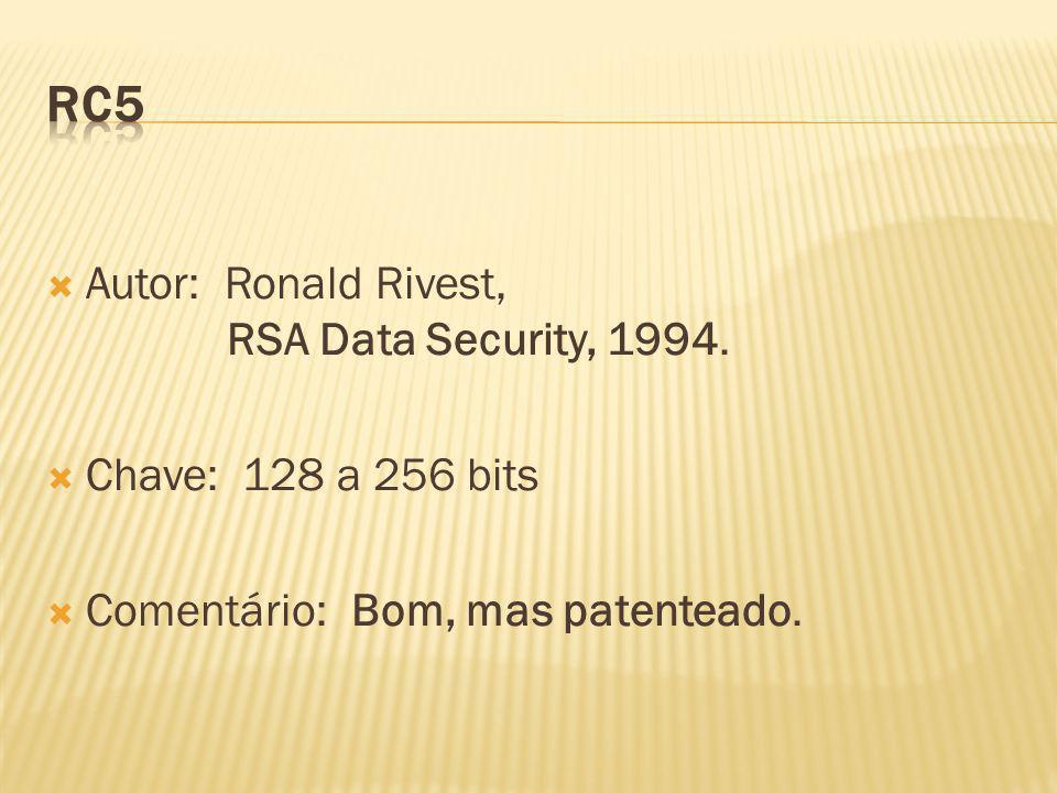 Autor: Ronald Rivest, RSA Data Security, 1994. Chave: 128 a 256 bits Comentário: Bom, mas patenteado.