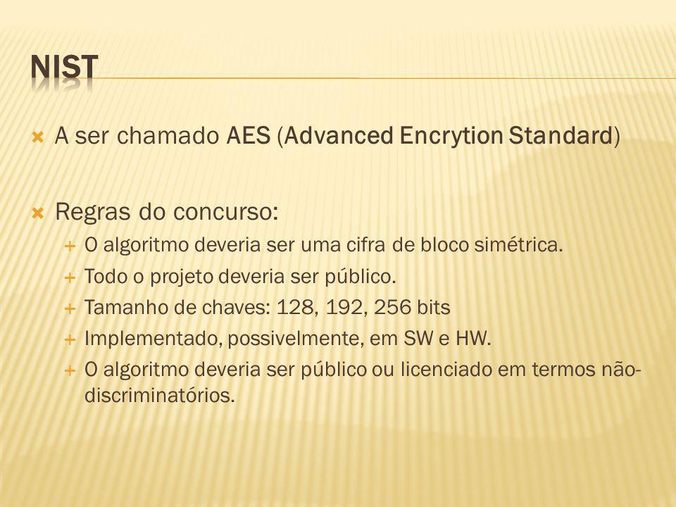 A ser chamado AES (Advanced Encrytion Standard) Regras do concurso: O algoritmo deveria ser uma cifra de bloco simétrica. Todo o projeto deveria ser p