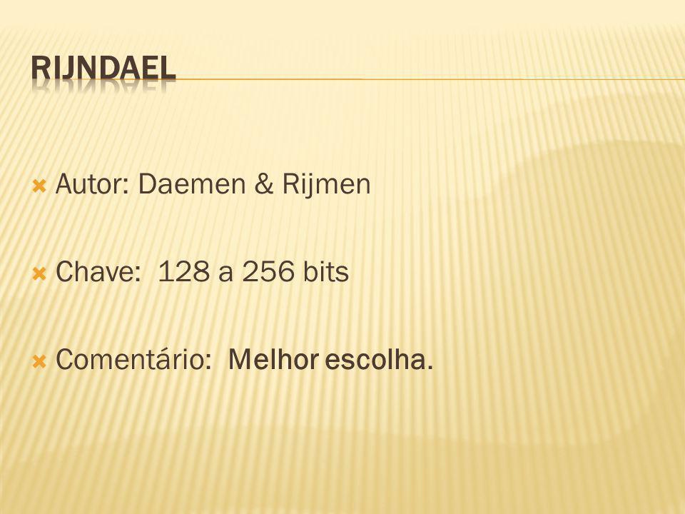 Autor: Daemen & Rijmen Chave: 128 a 256 bits Comentário: Melhor escolha.