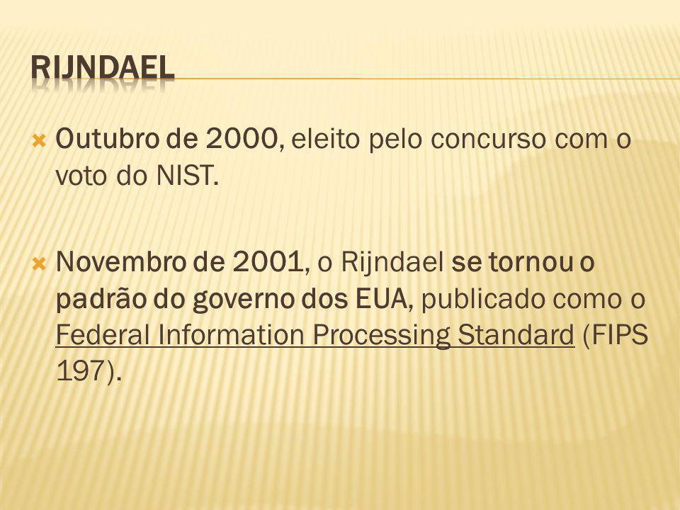 Outubro de 2000, eleito pelo concurso com o voto do NIST. Novembro de 2001, o Rijndael se tornou o padrão do governo dos EUA, publicado como o Federal
