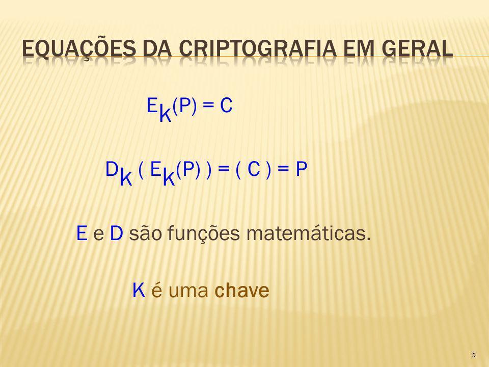 E k (P) = C D k ( E k (P) ) = ( C ) = P E e D são funções matemáticas. K é uma chave 5