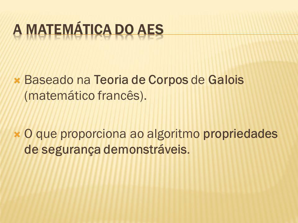 Baseado na Teoria de Corpos de Galois (matemático francês). O que proporciona ao algoritmo propriedades de segurança demonstráveis.