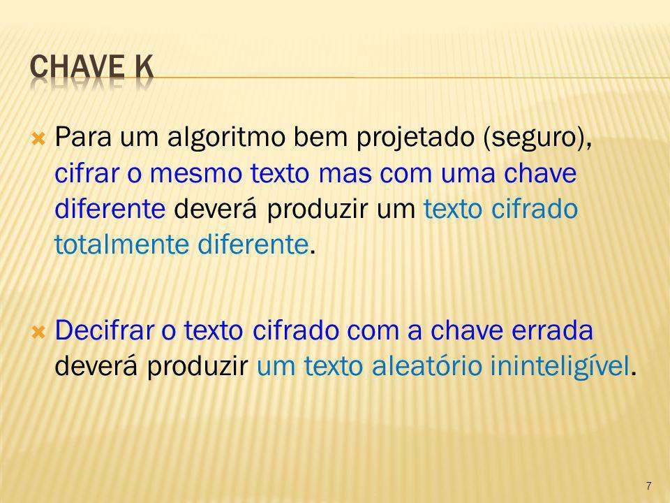 Para um algoritmo bem projetado (seguro), cifrar o mesmo texto mas com uma chave diferente deverá produzir um texto cifrado totalmente diferente. Deci