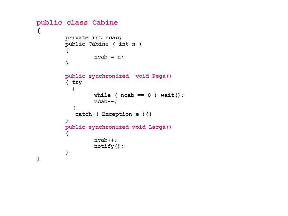 public class Cabine { private int ncab; public Cabine ( int n ) { ncab = n; } public synchronized void Pega() { try { while ( ncab == 0 ) wait(); ncab--; } catch ( Exception e ){} } public synchronized void Larga() { ncab++; notify(); }