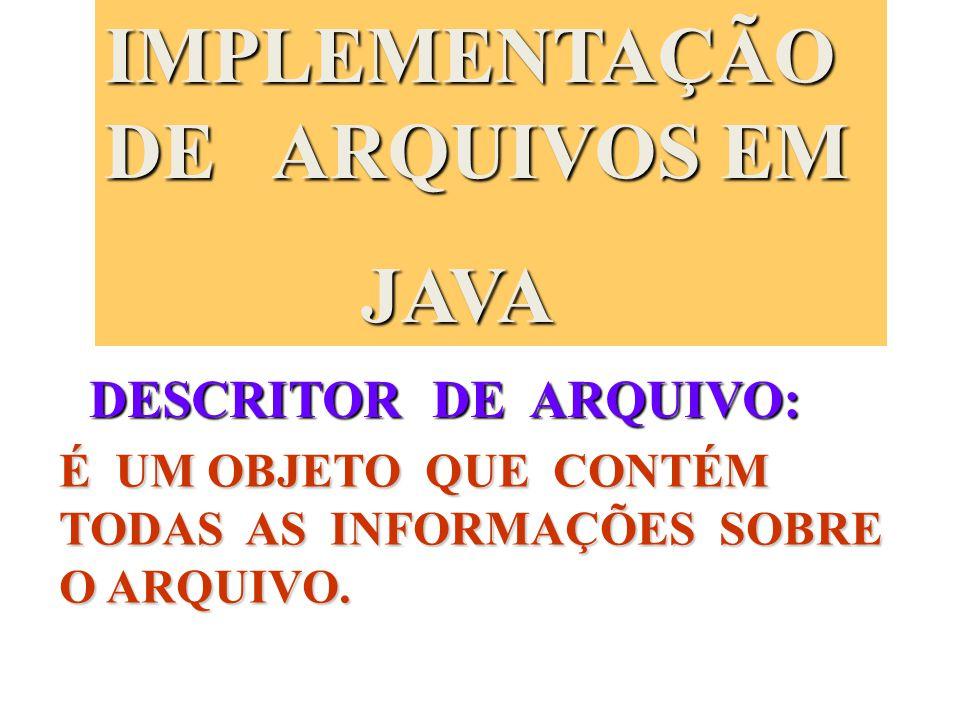IMPLEMENTAÇÃO DE ARQUIVOS EM JAVA JAVA DESCRITOR DE ARQUIVO: É UM OBJETO QUE CONTÉM TODAS AS INFORMAÇÕES SOBRE O ARQUIVO.