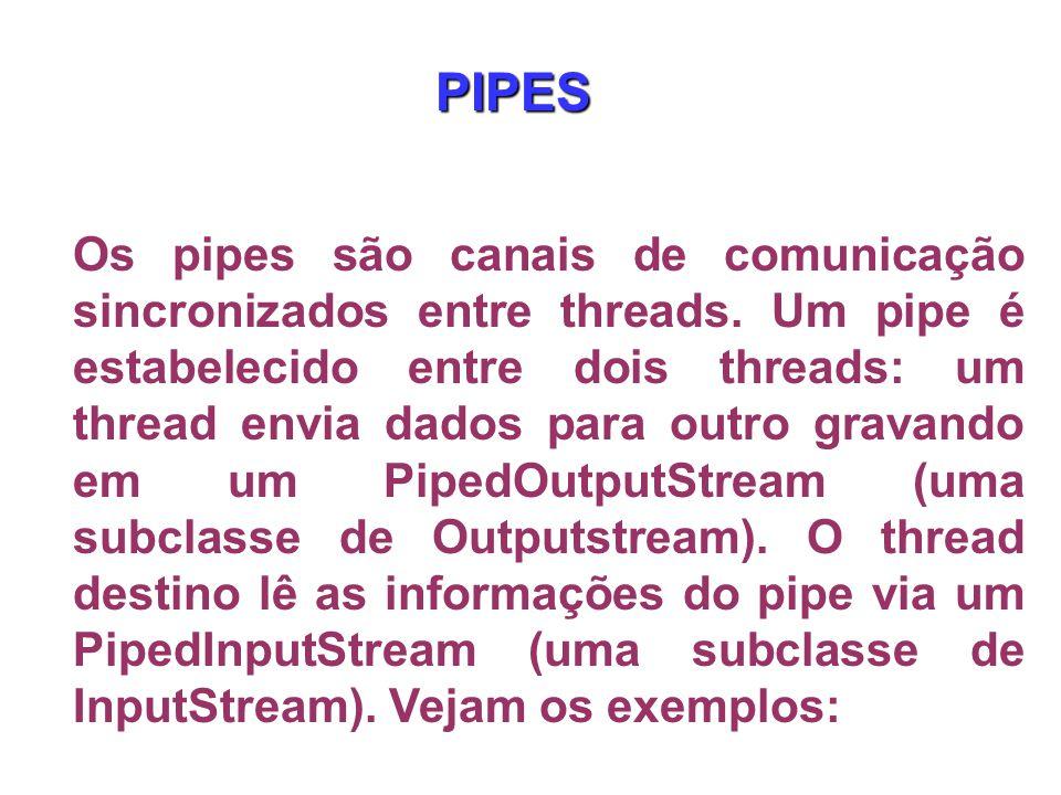 Os pipes são canais de comunicação sincronizados entre threads.