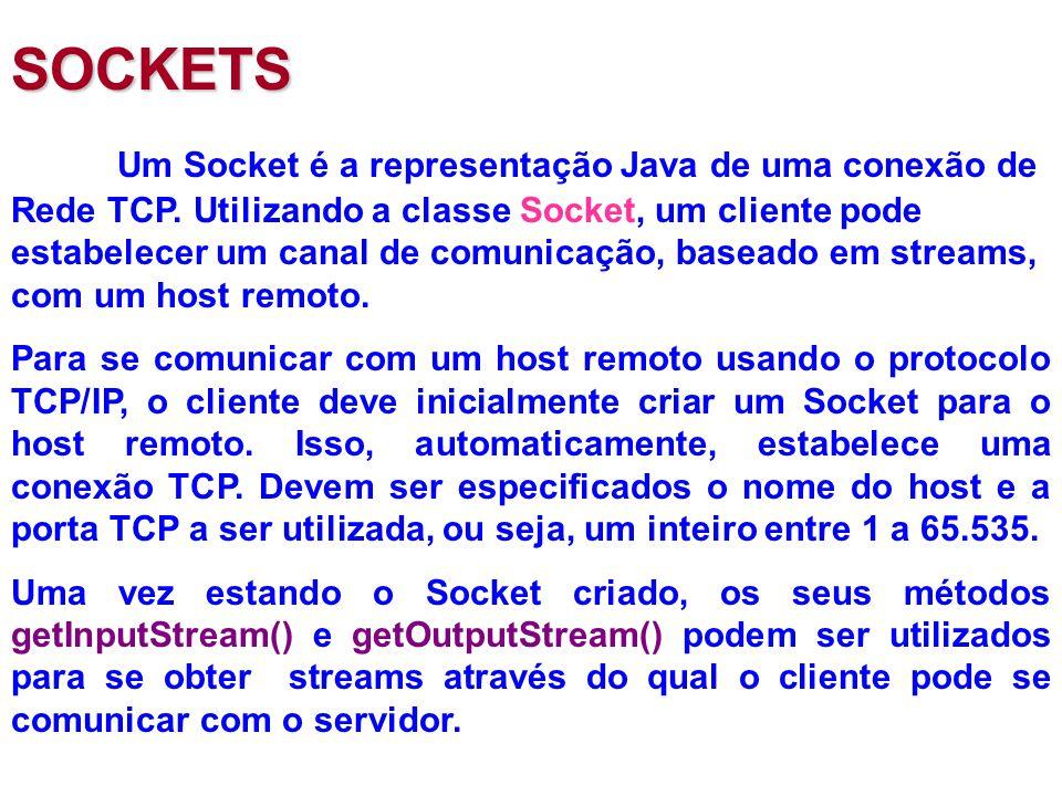 SOCKETS Um Socket é a representação Java de uma conexão de Rede TCP.