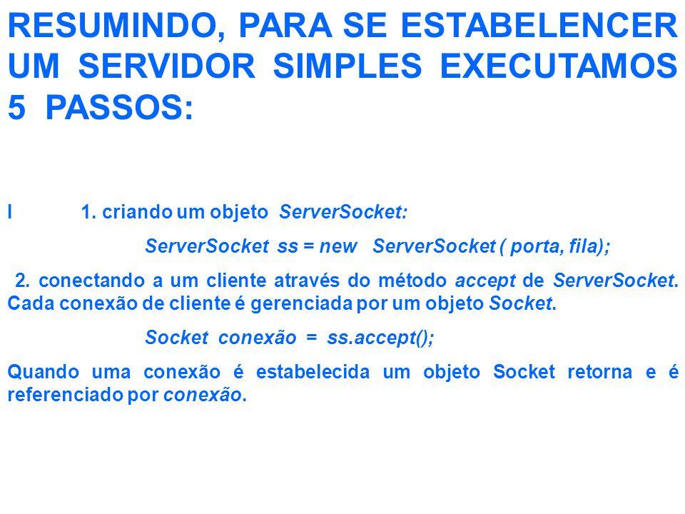 RESUMINDO, PARA SE ESTABELENCER UM SERVIDOR SIMPLES EXECUTAMOS 5 PASSOS: I 1.