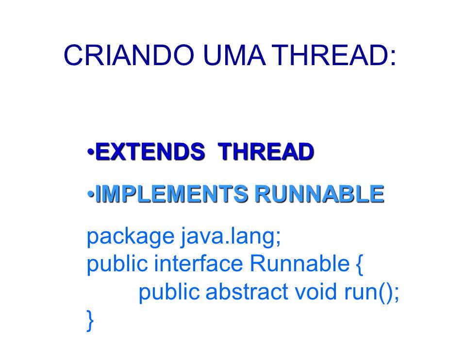 class TpThread extends Thread{ private int t; public TpThread (int thr) { t = (int) (Math.random()* 5000 ); System.out.println( A Thread: +thr+ dormirá: +t); } public void run() { try { sleep ( t ); System.out.println( Thread: +thr+ acordando ); } catch (InterruptedException erro ) { System.out.println( erro); }