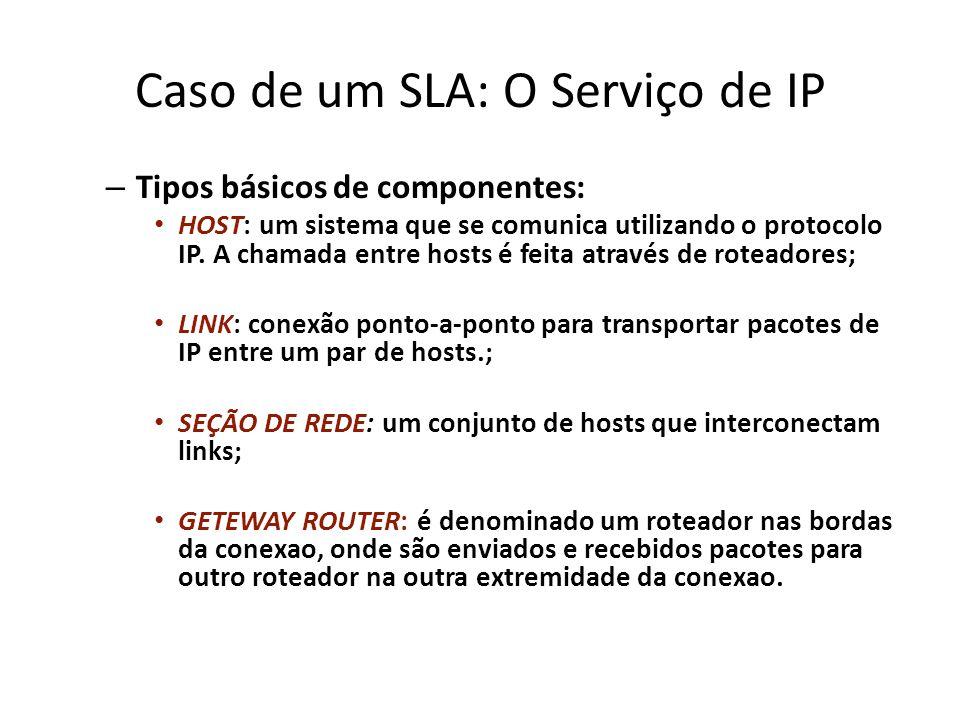 Caso de um SLA: O Serviço de IP – Tipos básicos de componentes: HOST: um sistema que se comunica utilizando o protocolo IP. A chamada entre hosts é fe