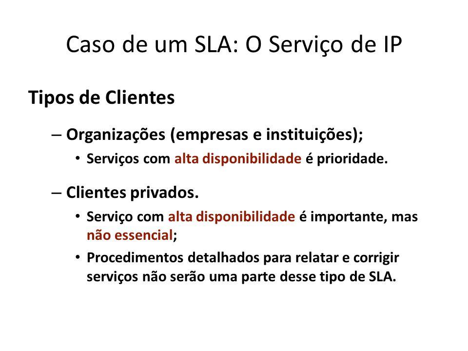 Caso de um SLA: O Serviço de IP Tipos de Clientes – Organizações (empresas e instituições); Serviços com alta disponibilidade é prioridade. – Clientes