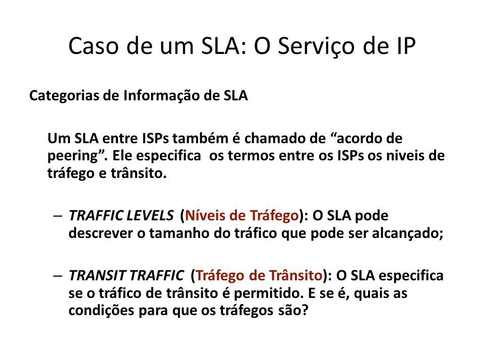 Caso de um SLA: O Serviço de IP Categorias de Informação de SLA Um SLA entre ISPs também é chamado de acordo de peering. Ele especifica os termos entr