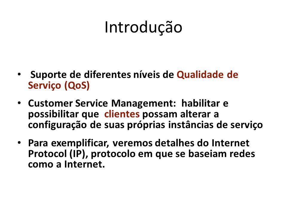 Introdução Suporte de diferentes níveis de Qualidade de Serviço (QoS) Customer Service Management: habilitar e possibilitar que clientes possam altera