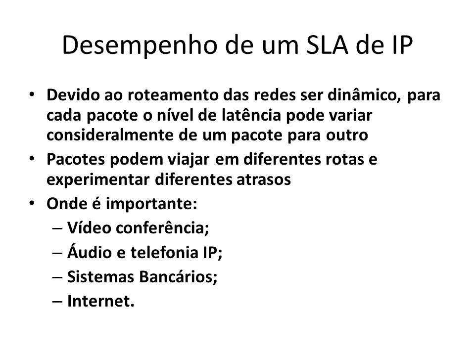 Desempenho de um SLA de IP Devido ao roteamento das redes ser dinâmico, para cada pacote o nível de latência pode variar consideralmente de um pacote