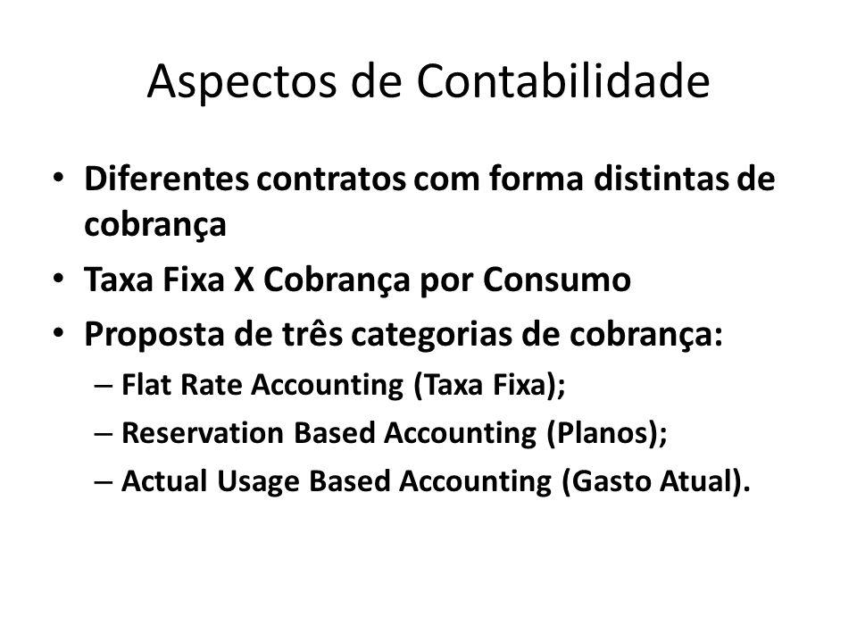Aspectos de Contabilidade Diferentes contratos com forma distintas de cobrança Taxa Fixa X Cobrança por Consumo Proposta de três categorias de cobranç