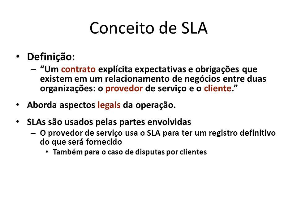 Conceito de SLA Definição: – Um contrato explícita expectativas e obrigações que existem em um relacionamento de negócios entre duas organizações: o p