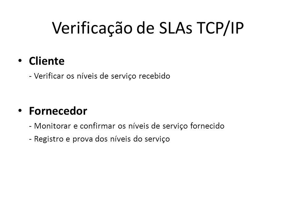 Verificação de SLAs TCP/IP Cliente - Verificar os níveis de serviço recebido Fornecedor - Monitorar e confirmar os níveis de serviço fornecido - Regis