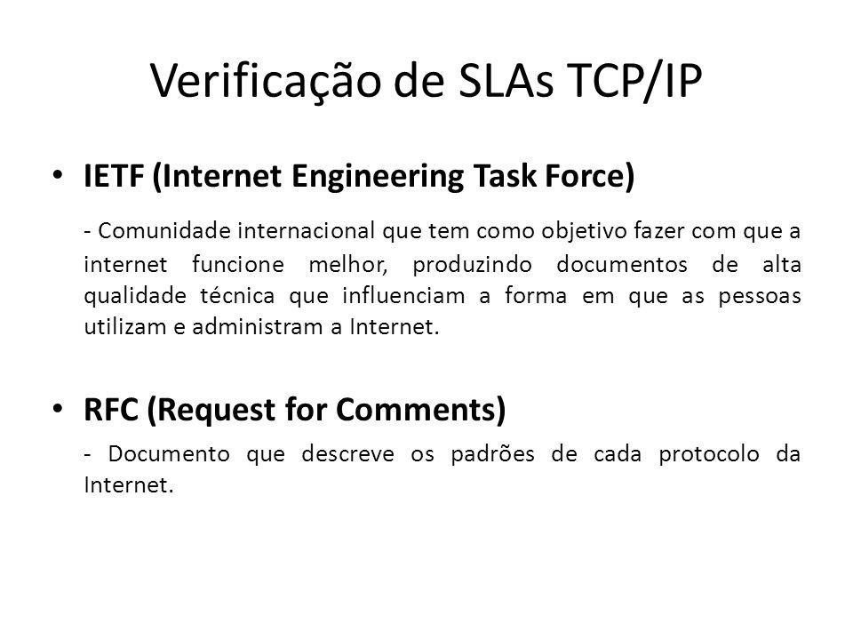 Verificação de SLAs TCP/IP IETF (Internet Engineering Task Force) - Comunidade internacional que tem como objetivo fazer com que a internet funcione m