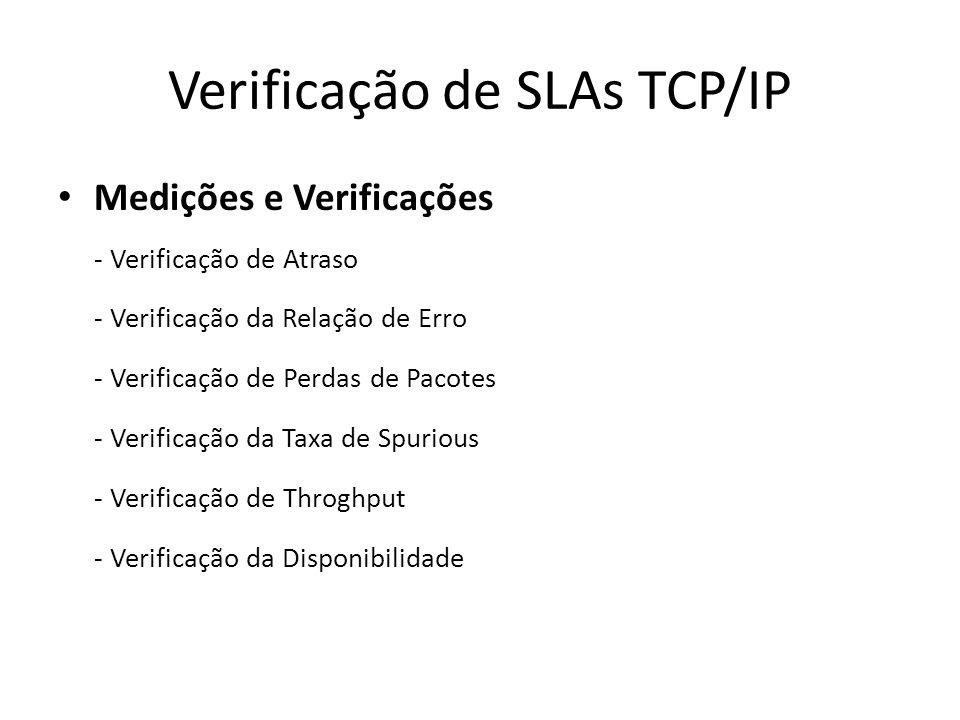 Verificação de SLAs TCP/IP Medições e Verificações - Verificação de Atraso - Verificação da Relação de Erro - Verificação de Perdas de Pacotes - Verif