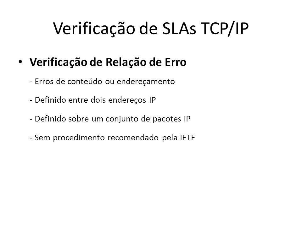 Verificação de SLAs TCP/IP Verificação de Relação de Erro - Erros de conteúdo ou endereçamento - Definido entre dois endereços IP - Definido sobre um