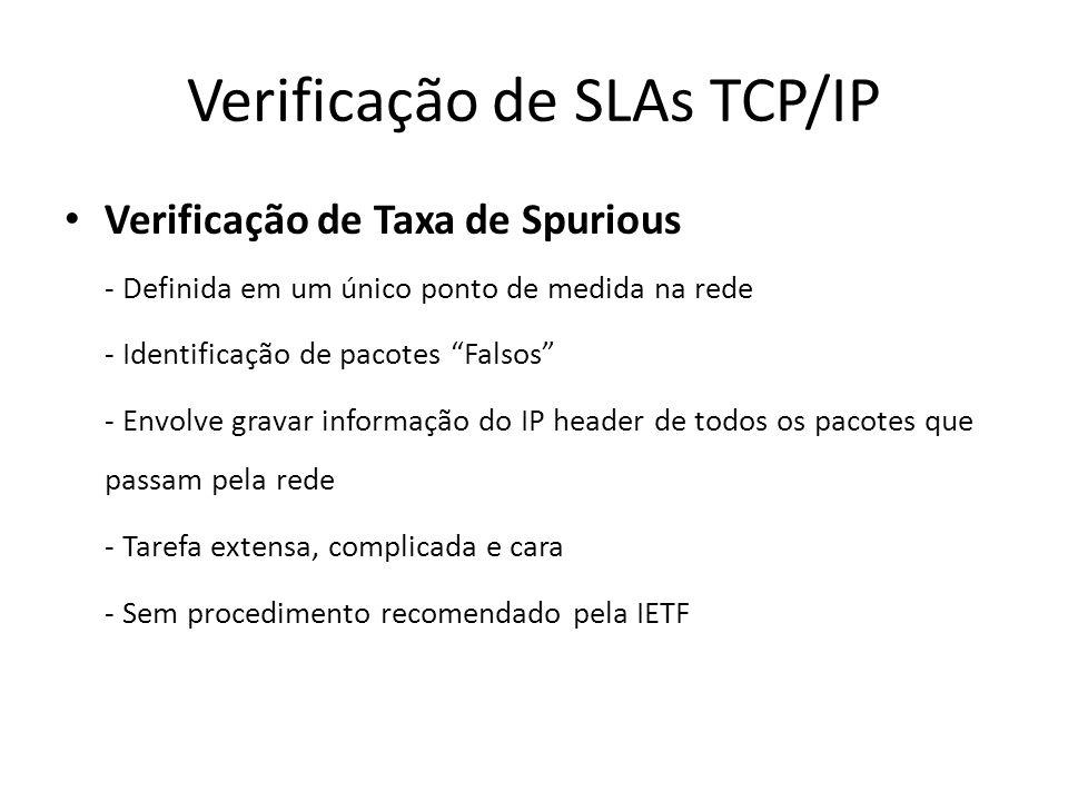 Verificação de SLAs TCP/IP Verificação de Taxa de Spurious - Definida em um único ponto de medida na rede - Identificação de pacotes Falsos - Envolve