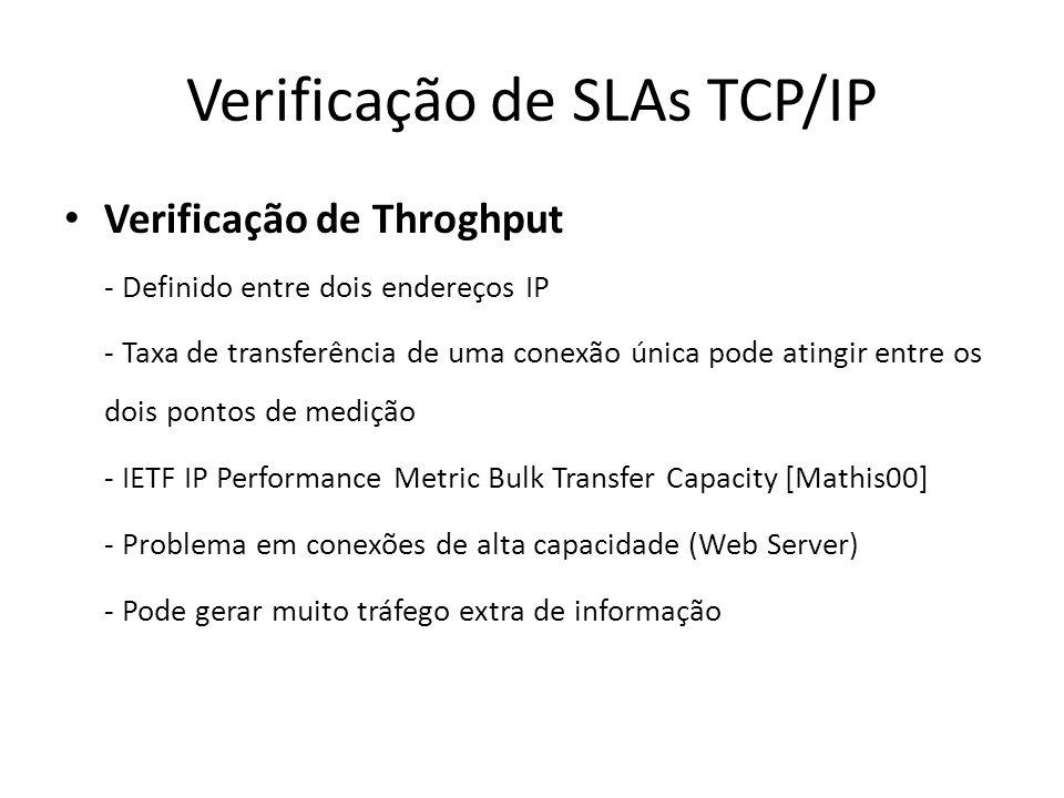 Verificação de SLAs TCP/IP Verificação de Throghput - Definido entre dois endereços IP - Taxa de transferência de uma conexão única pode atingir entre