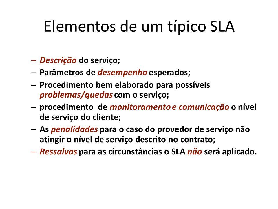 Elementos de um típico SLA – Descrição do serviço; – Parâmetros de desempenho esperados; – Procedimento bem elaborado para possíveis problemas/quedas