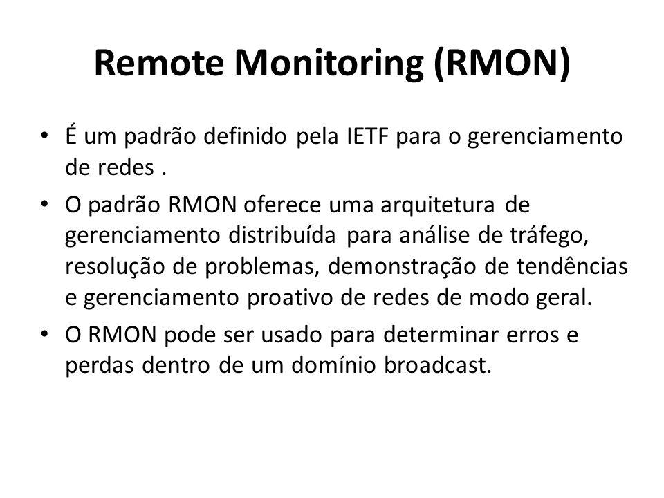 Remote Monitoring (RMON) É um padrão definido pela IETF para o gerenciamento de redes. O padrão RMON oferece uma arquitetura de gerenciamento distribu