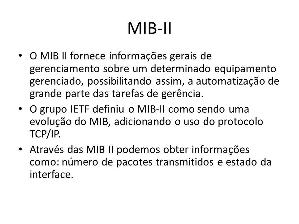 MIB-II O MIB II fornece informações gerais de gerenciamento sobre um determinado equipamento gerenciado, possibilitando assim, a automatização de gran