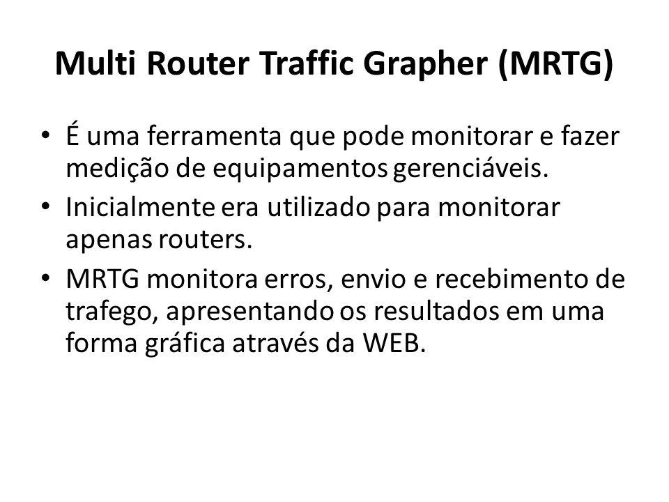 Multi Router Traffic Grapher (MRTG) É uma ferramenta que pode monitorar e fazer medição de equipamentos gerenciáveis. Inicialmente era utilizado para