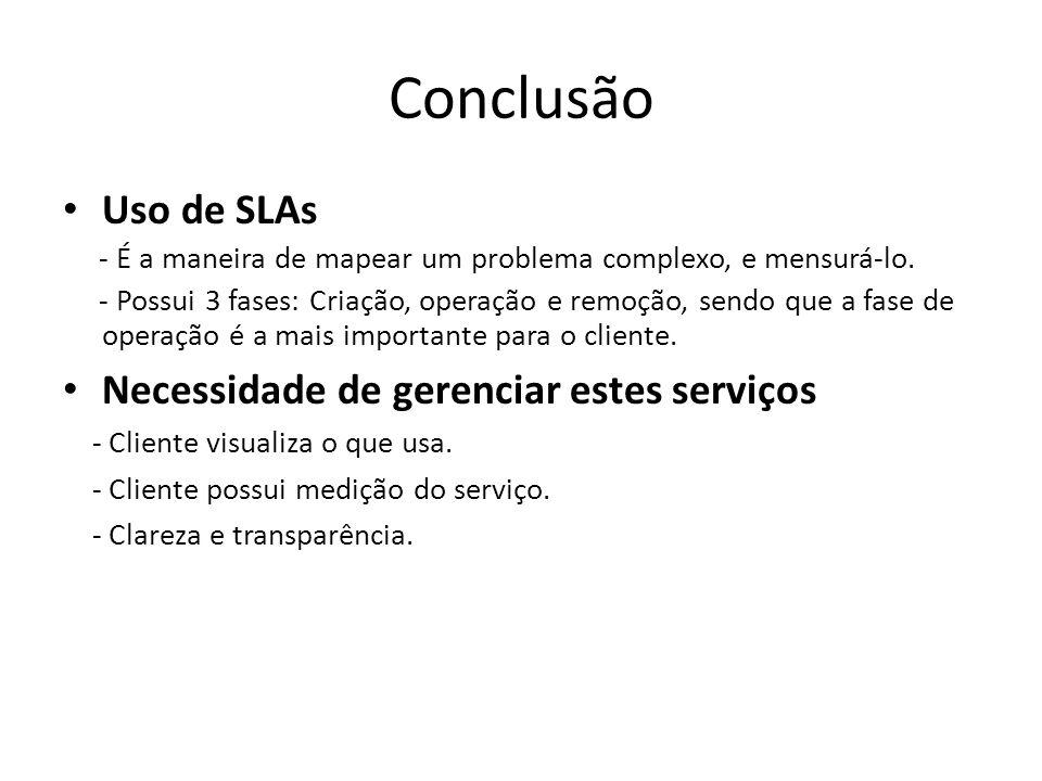 Conclusão Uso de SLAs - É a maneira de mapear um problema complexo, e mensurá-lo. - Possui 3 fases: Criação, operação e remoção, sendo que a fase de o