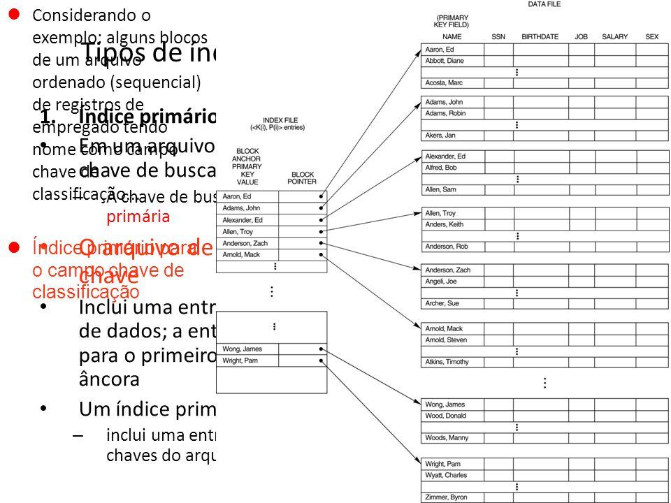 Tipos de índices ordenados em nível único 1.Índice primário Em um arquivo ordenado sequencialmente, o índice cuja chave de busca especifica a ordem se
