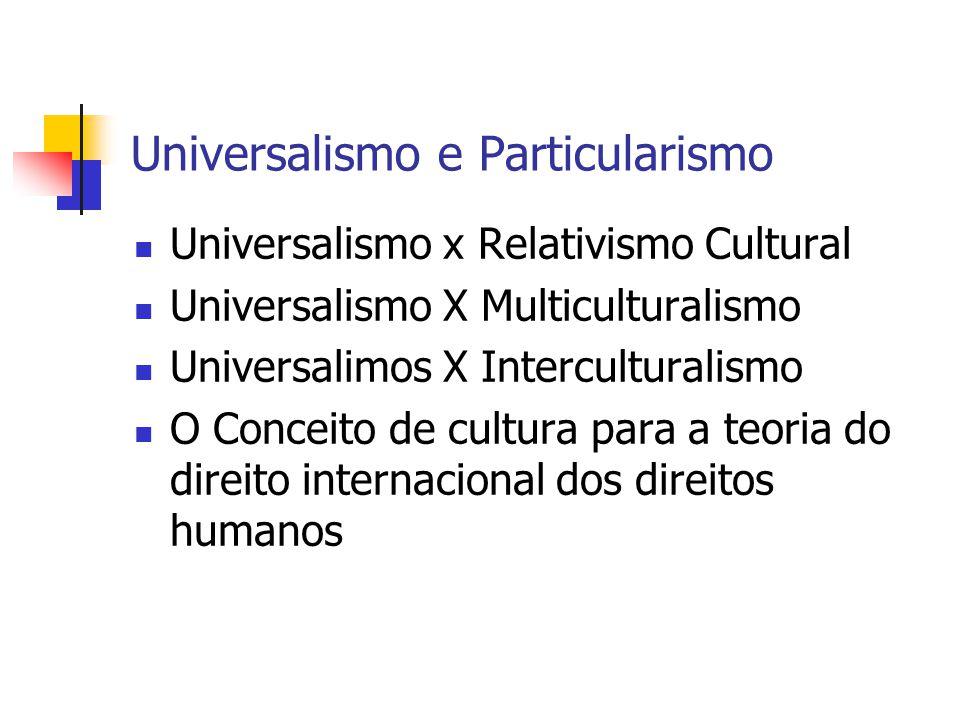 Universalismo e Particularismo Universalismo x Relativismo Cultural Universalismo X Multiculturalismo Universalimos X Interculturalismo O Conceito de