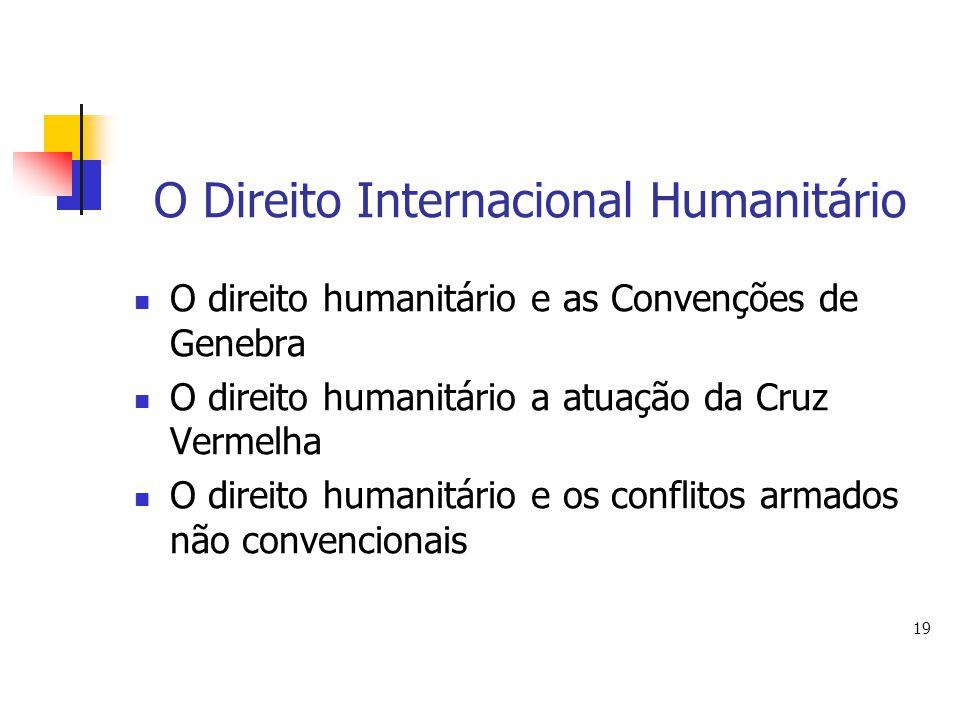O Direito Internacional Humanitário O direito humanitário e as Convenções de Genebra O direito humanitário a atuação da Cruz Vermelha O direito humani