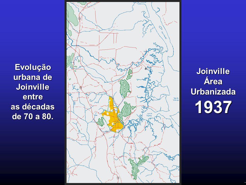 - Evolução urbana de Joinville entre as décadas de 70 a 80. Joinville Área Urbanizada 1937