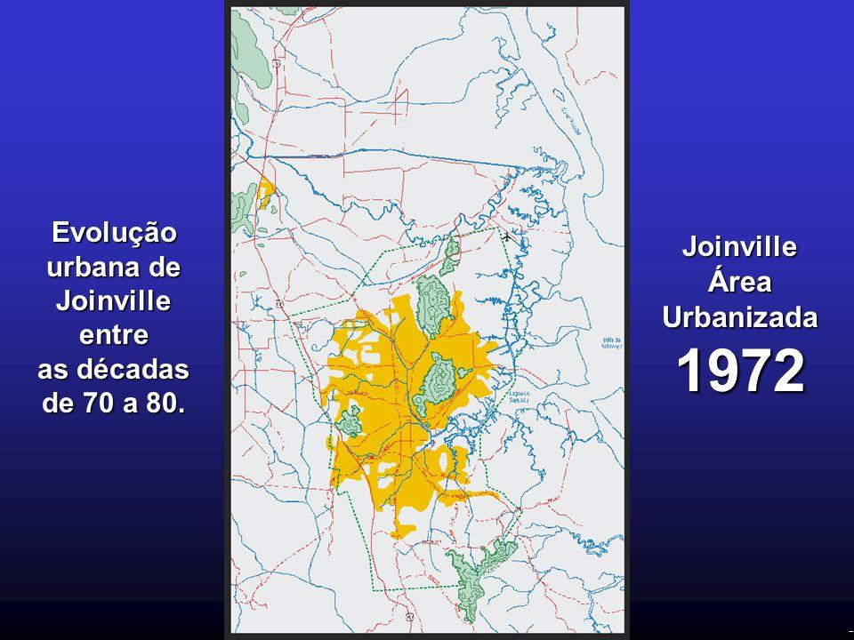 - Evolução urbana de Joinville entre as décadas de 70 a 80. Joinville Área Urbanizada 1972