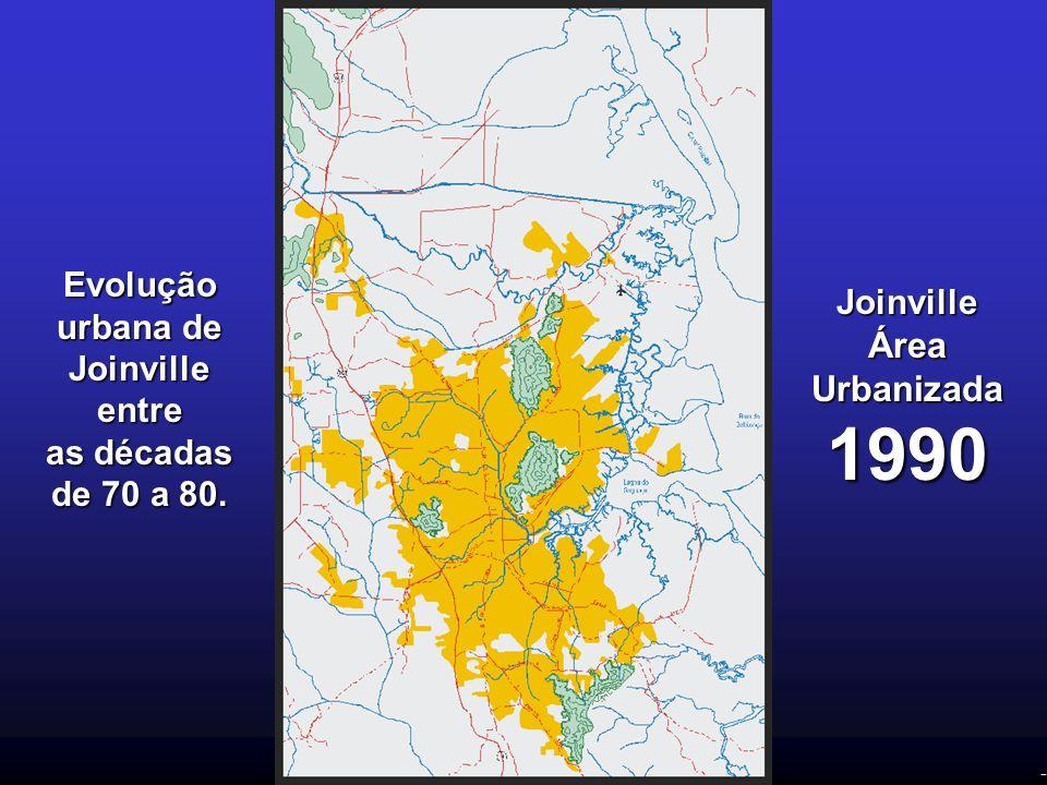 - Evolução urbana de Joinville entre as décadas de 70 a 80. Joinville Área Urbanizada 1990