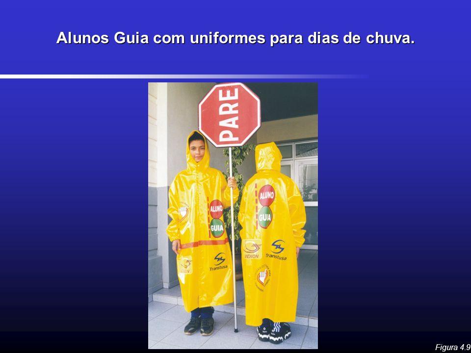 Alunos Guia com uniformes para dias de chuva. Figura 4.9