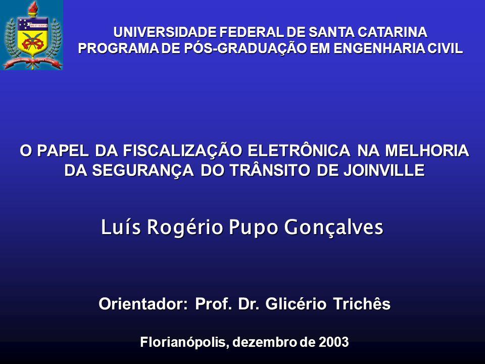 O PAPEL DA FISCALIZAÇÃO ELETRÔNICA NA MELHORIA DA SEGURANÇA DO TRÂNSITO DE JOINVILLE Luís Rogério Pupo Gonçalves Orientador: Prof. Dr. Glicério Trichê