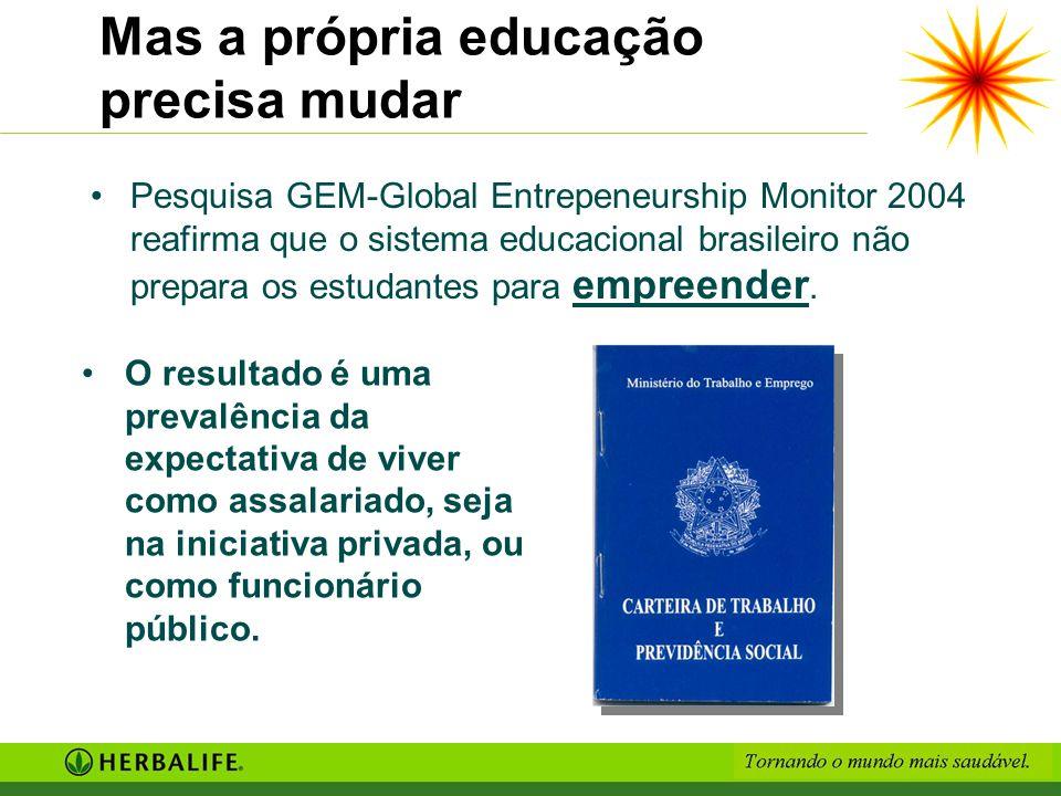 Mas a própria educação precisa mudar Pesquisa GEM-Global Entrepeneurship Monitor 2004 reafirma que o sistema educacional brasileiro não prepara os est