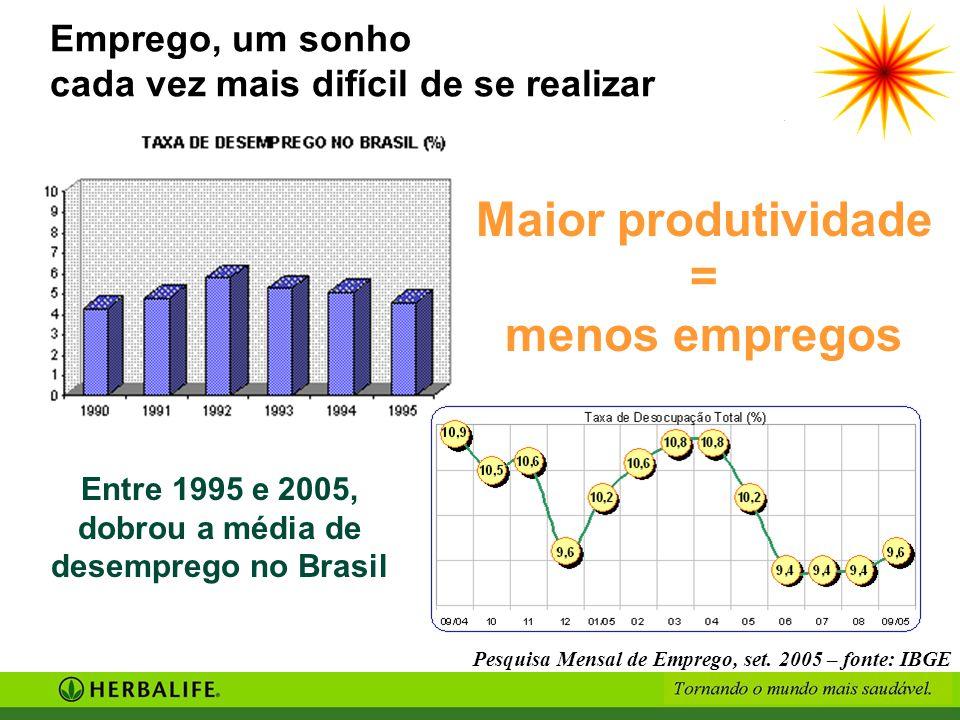 Pesquisa Mensal de Emprego, set. 2005 – fonte: IBGE Emprego, um sonho cada vez mais difícil de se realizar Maior produtividade = menos empregos Entre