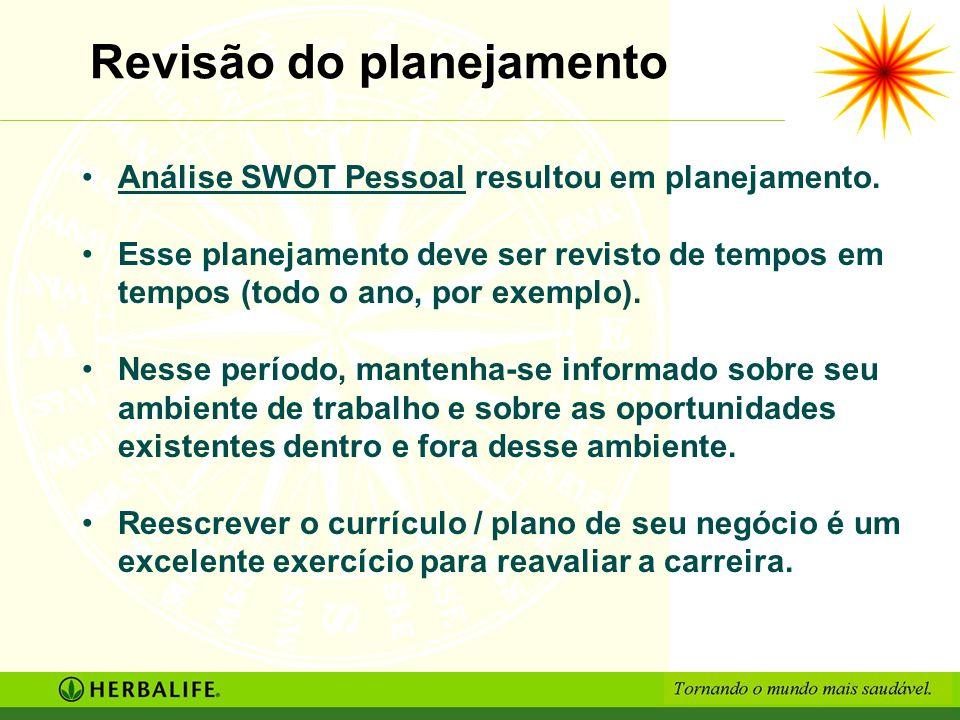 Revisão do planejamento Análise SWOT Pessoal resultou em planejamento. Esse planejamento deve ser revisto de tempos em tempos (todo o ano, por exemplo