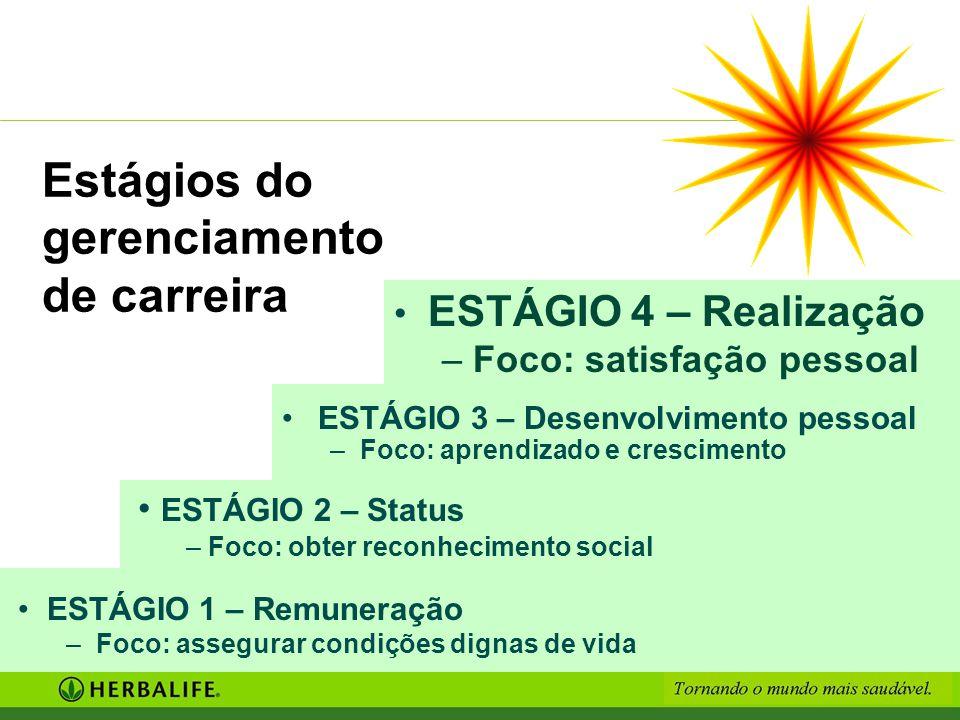 Estágios do gerenciamento de carreira ESTÁGIO 4 – Realização – Foco: satisfação pessoal ESTÁGIO 1 – Remuneração – Foco: assegurar condições dignas de