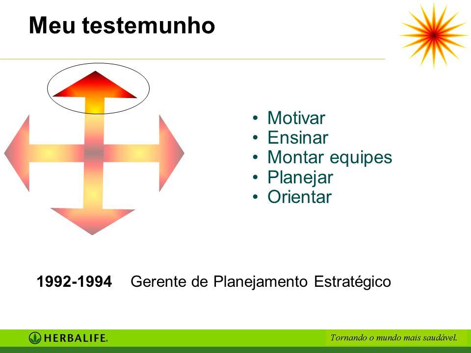 Meu testemunho 1992-1994Gerente de Planejamento Estratégico Motivar Ensinar Montar equipes Planejar Orientar