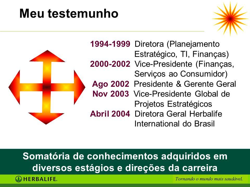 Meu testemunho 1994-1999 Diretora (Planejamento Estratégico, TI, Finanças) 2000-2002 Vice-Presidente (Finanças, Serviços ao Consumidor) Ago 2002 Presi