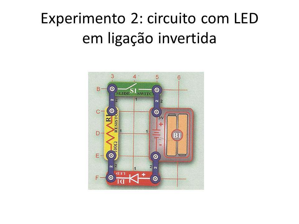 Experimento 2: circuito com LED em ligação invertida