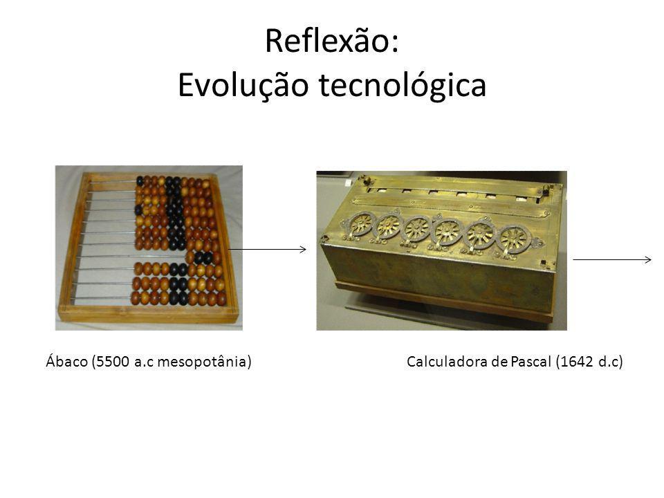 Reflexão: Evolução tecnológica 1842: lógica Booleana (George Boole) 1946 : ENIAC (Electrical Numerical Integrator and Calculator )