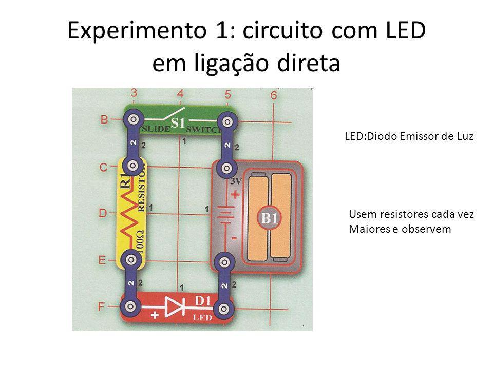 Experimento 1: circuito com LED em ligação direta Usem resistores cada vez Maiores e observem LED:Diodo Emissor de Luz