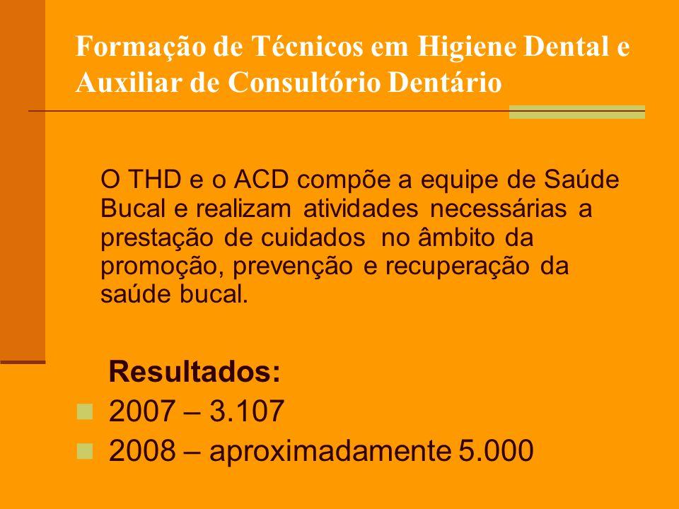 Formação de Técnicos em Higiene Dental e Auxiliar de Consultório Dentário O THD e o ACD compõe a equipe de Saúde Bucal e realizam atividades necessárias a prestação de cuidados no âmbito da promoção, prevenção e recuperação da saúde bucal.